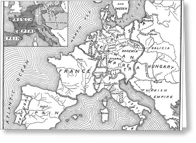 Map Of Europe, 1812-1815 Greeting Card