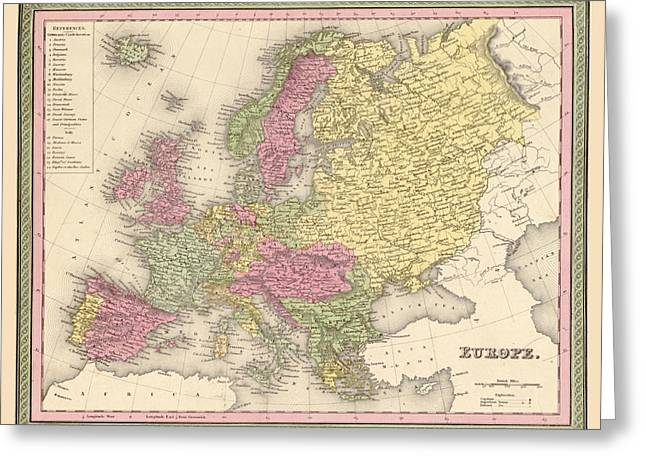 Map Of Europe Greeting Card by Gary Grayson