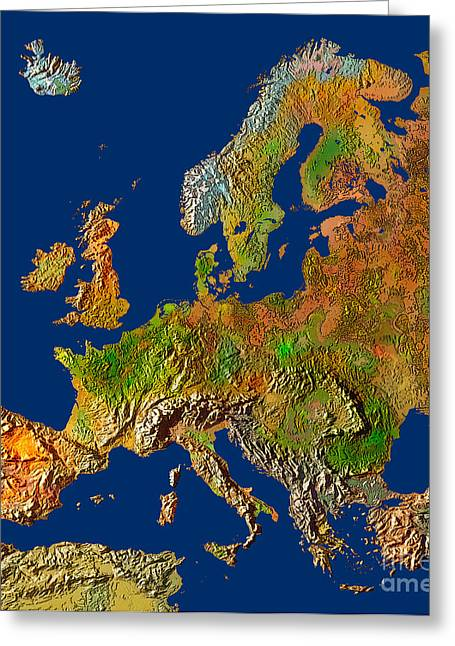 Map Of Europe In Relief Greeting Card by Mike Agliolo