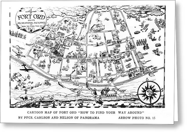 Map Of Fort Ord Army Base Monterey California Circa 1950 Greeting Card