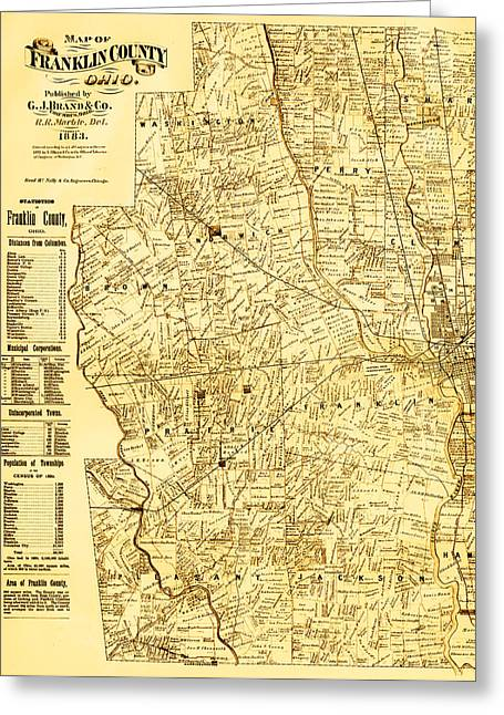 Map Of Franklin Country Ohio 1883 Greeting Card