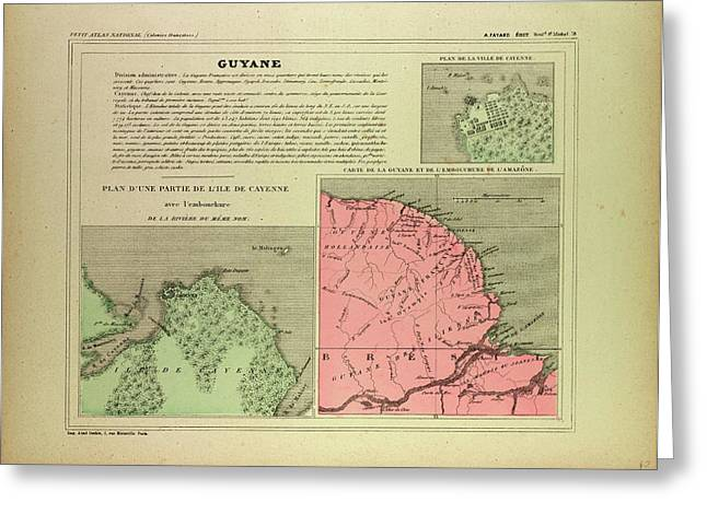 Map Of French Guiana Greeting Card by English School