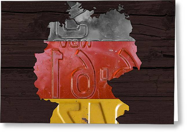 Map Of Germany Plus German Flag License Plate Art On Gray Wood Board Greeting Card