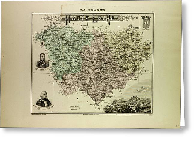 Map Of Haute Loire 1896 France Greeting Card by French School