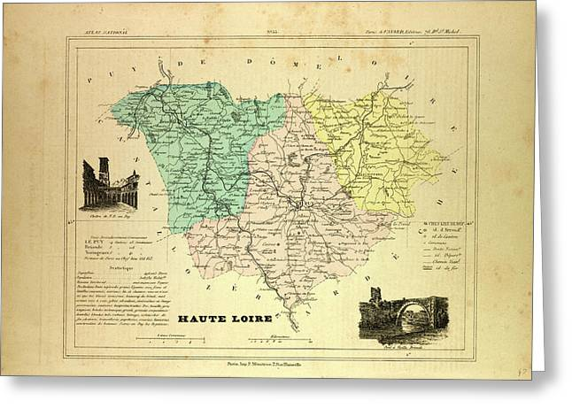 Map Of Haute Loire France Greeting Card by French School