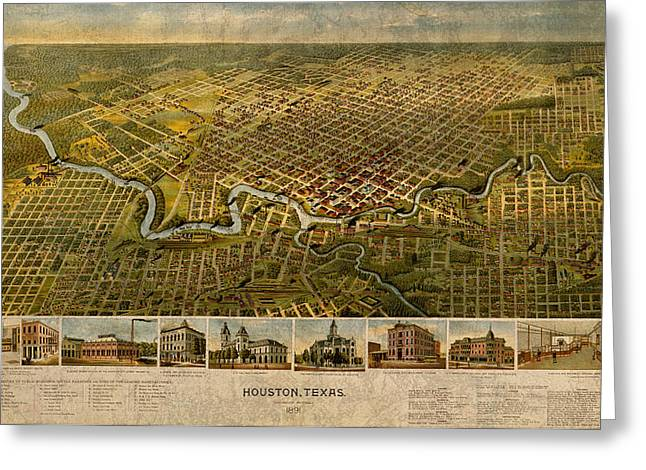 Map Of Houston Texas Circa 1891 On Worn Distressed Canvas Greeting Card by Design Turnpike