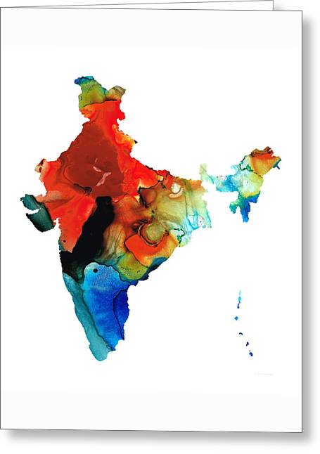 Map Of India By Sharon Cummings Greeting Card by Sharon Cummings
