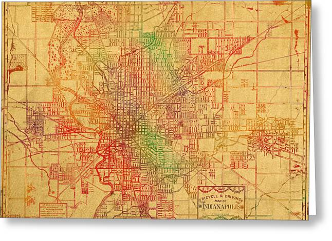 Map Of Indianapolis Vintage Bicycle And Driving Watercolor Street Diagram Painting On Parchment Greeting Card by Design Turnpike