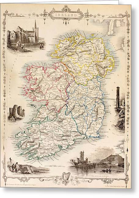 Map Of Ireland From The History Of Ireland By Thomas Wright Greeting Card