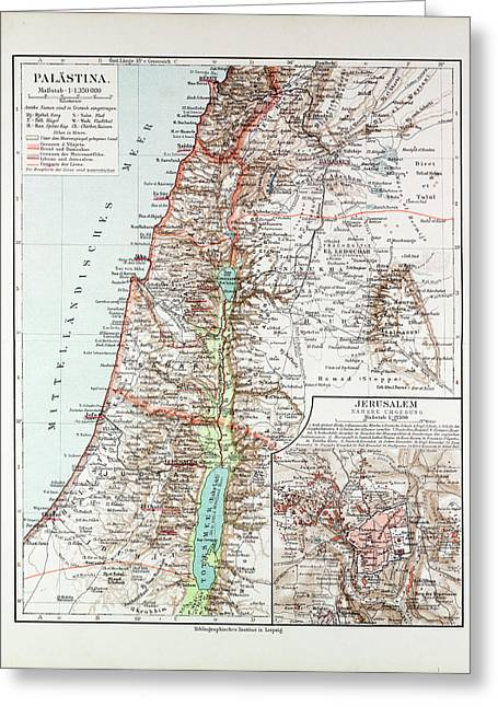 Map Of Israel Jerusalem The Southern Part Of Syria Lebanon Greeting Card by Israeli School
