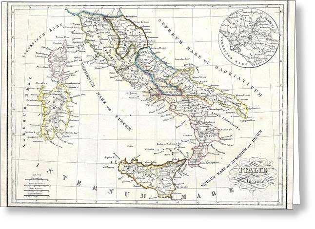 Map Of Italy In Ancient Roman Times Greeting Card by Paul Fearn