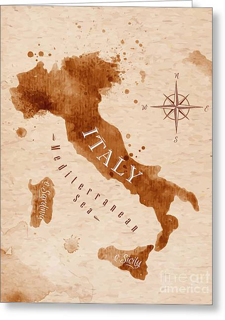 Map Of Italy In Old Style, Brown Greeting Card