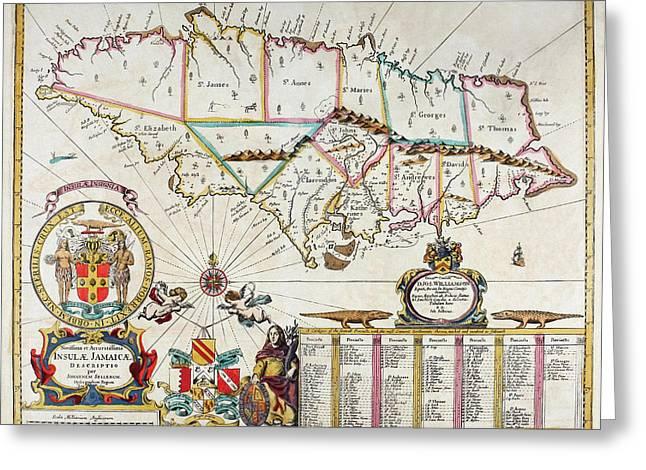 Map Of Jamaica - 1672 Greeting Card