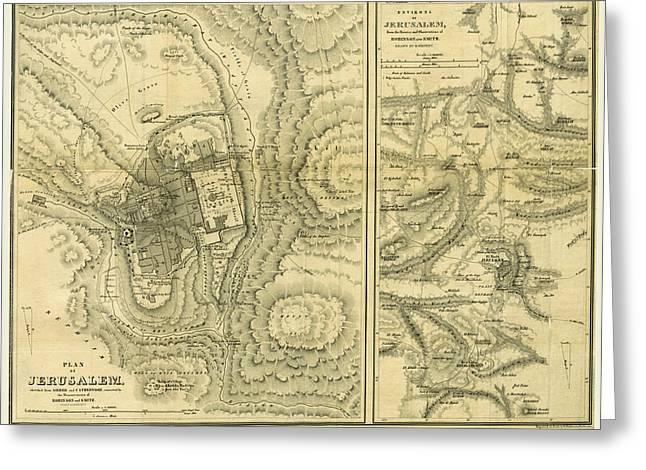 Map Of Jerusalem, Biblical Researches In Palestine Greeting Card