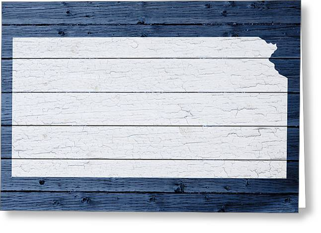 Map Of Kansas State Outline White Distressed Paint On Reclaimed Wood Planks Greeting Card
