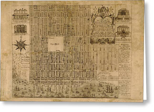 Map Of Kingston 1745 Greeting Card by Andrew Fare