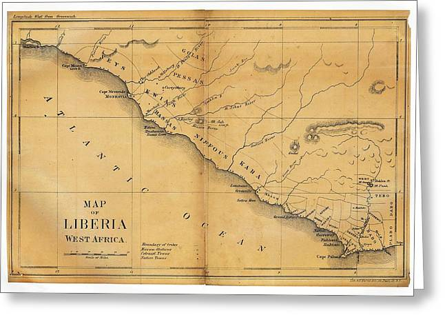 Map Of Liberia Greeting Card by Library Of Congress, Geography And Map Division