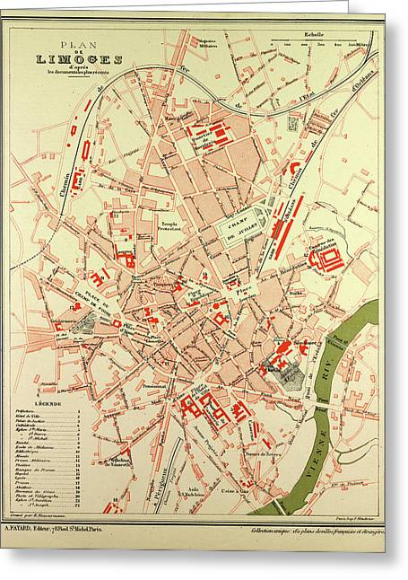 Limoges France Map.Map Of Limoges France Drawing By French School