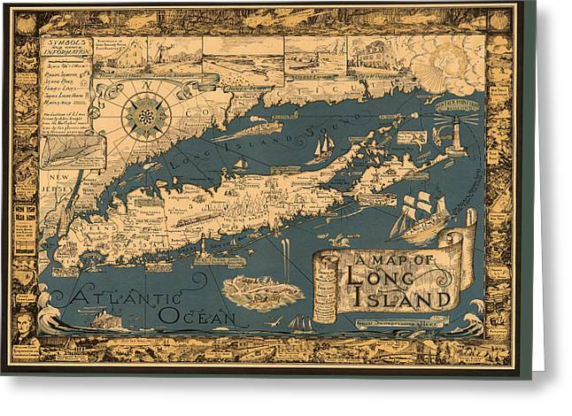 Map Of Long Island Greeting Card by Andrew Fare