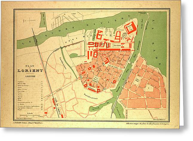 Map Of Lorient France Greeting Card