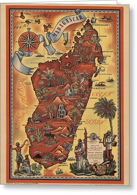 Map Of Madagascar 1952 Greeting Card by Andrew Fare