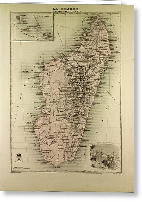 Map Of Madagascar And Comoros 1896 Greeting Card by English School