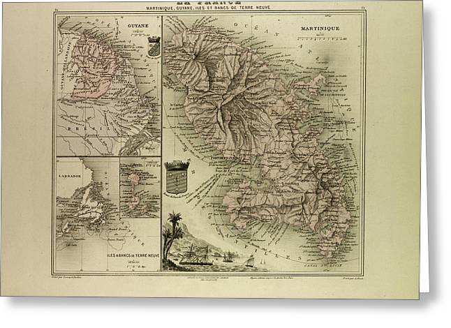 Map Of Martinique French Guiana And Terra Nova 1896 Greeting Card by English School