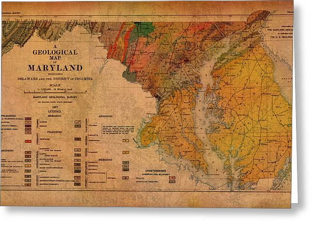 Map Of Maryland Geological 1897 Greeting Card
