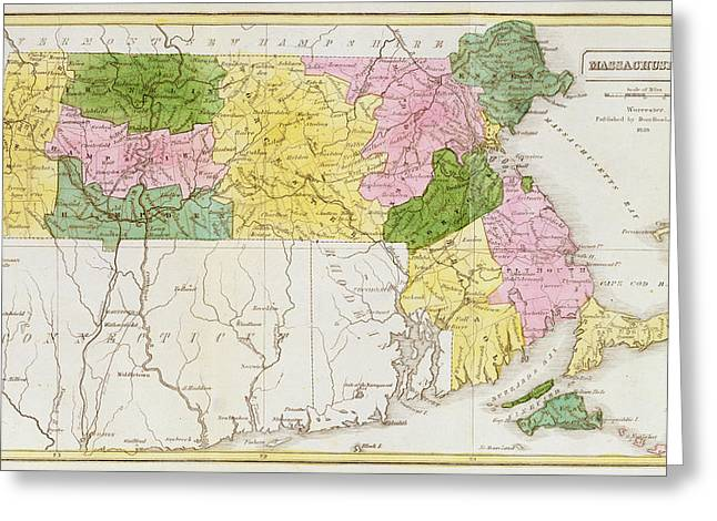 Map Of Massachusetts, From Historical Collections Of Massachusetts, By John Warren Barber, 1839 Greeting Card by American School