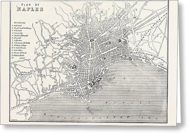 Map Of Naples, Italy Greeting Card