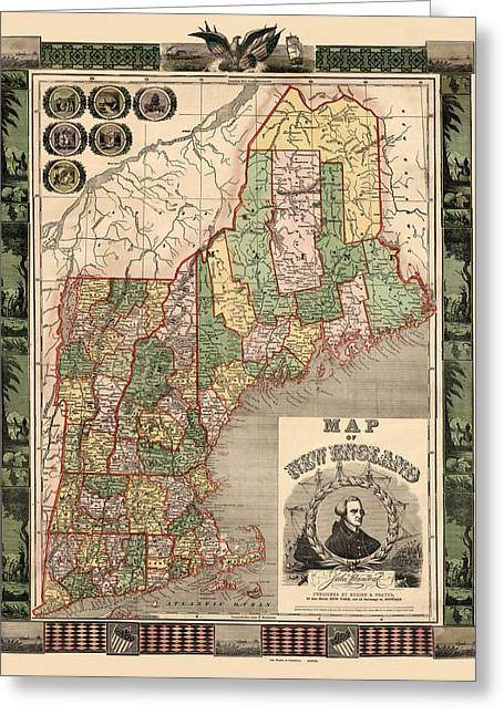 Map Of New England 1847 Greeting Card