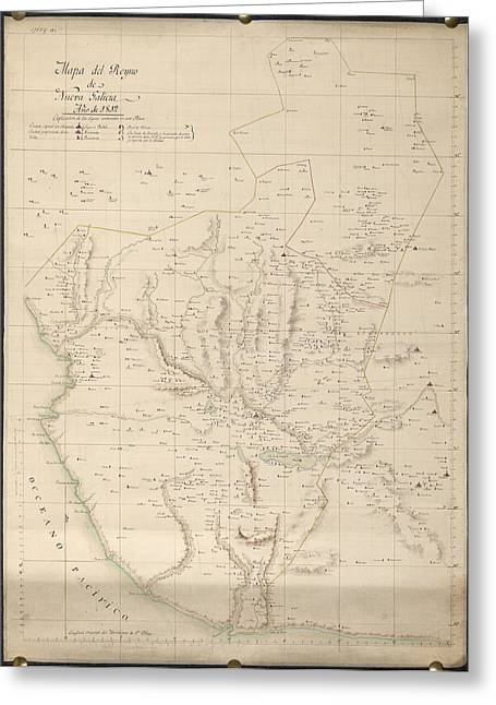 Map Of New Galicia Greeting Card by British Library