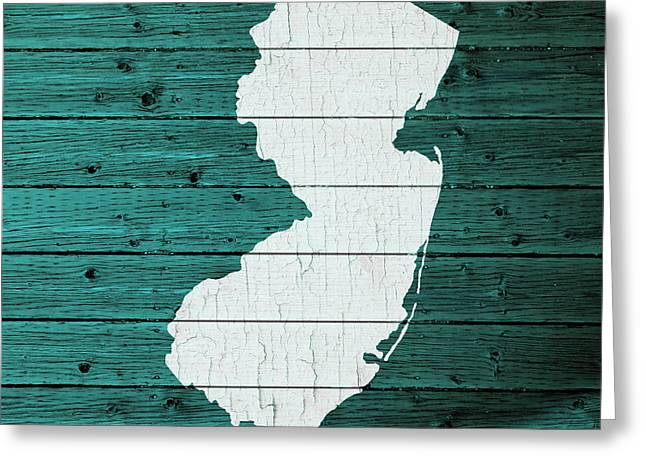 Map Of New Jersey State Outline White Distressed Paint On Reclaimed Wood Planks Greeting Card