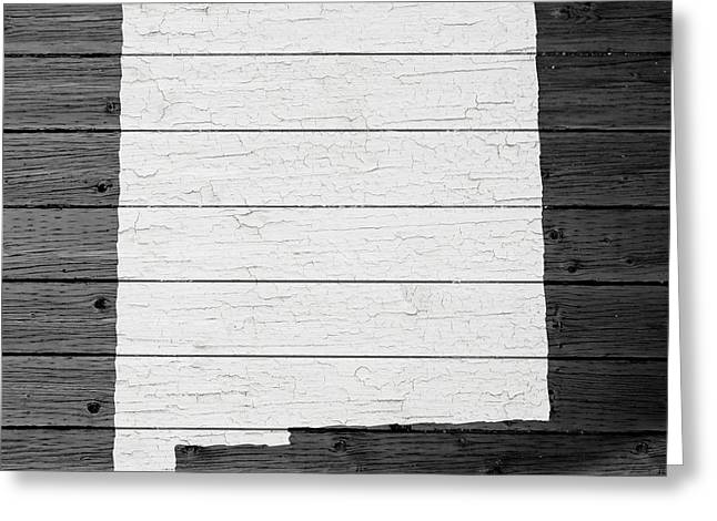 Map Of New Mexico State Outline White Distressed Paint On Reclaimed Wood Planks Greeting Card