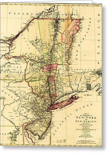 Map Of New York And New Jersey Greeting Card by Pg Reproductions