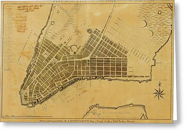 Map Of New York City Greeting Card by American Philosophical Society