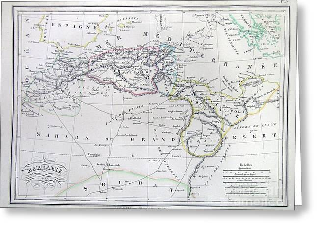 Map Of North Africa Or Barbary Greeting Card by Paul Fearn
