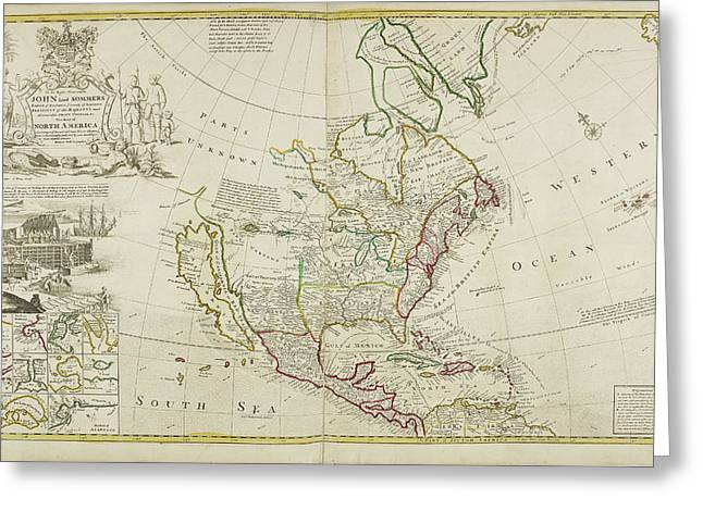 Map Of North America Dated 1715 Greeting Card by British Library