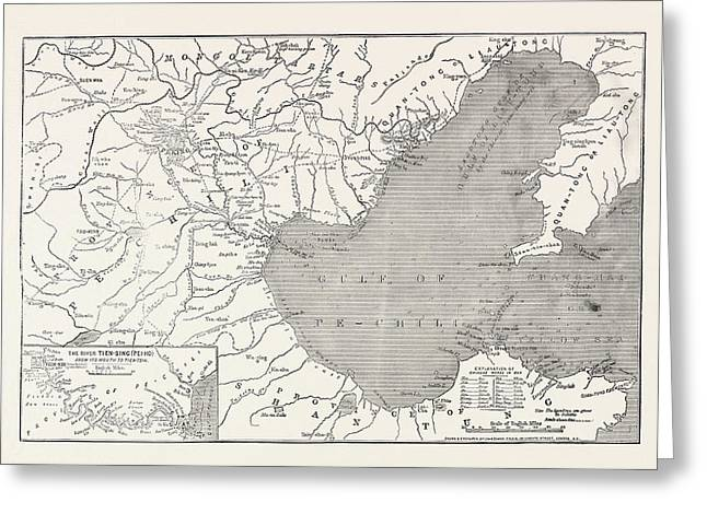 Map Of North-east China, Showing The Gulf Of Pechili Greeting Card