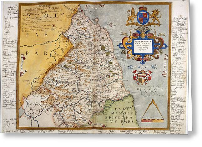 Map Of Northumberland Greeting Card by British Library