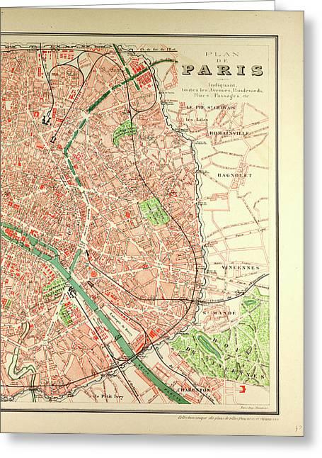 map of paris greeting card