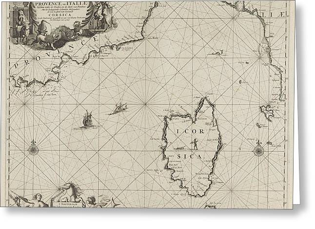 Map Of Part Of The Mediterranean Coast Of France Greeting Card by Anonymous And Johannes Van Keulen I