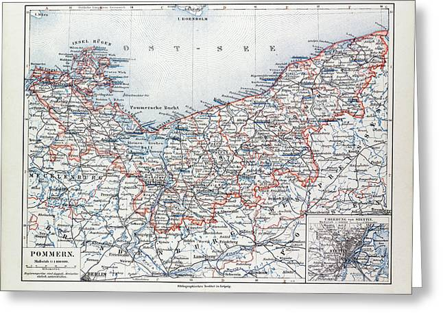 Pommern Germany Map.Map Of Pommern Mecklenburg Vorpommern Germany And North Drawing By