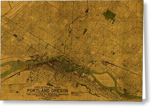 Map Of Portland Oregon City Street Schematic Cartography Circa 1924 On Worn Parchment  Greeting Card