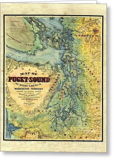 Map Of Puget Sound 1878 Greeting Card by Lisa Middleton