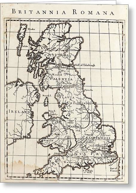 Map Of Roman Britain Greeting Card by Middle Temple Library