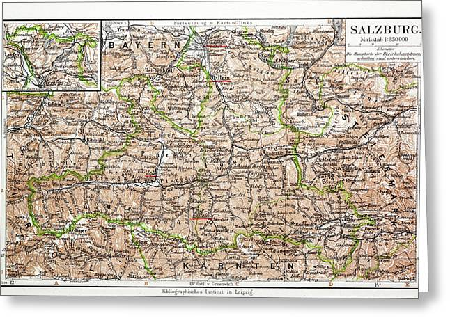 Map Of Salzburg Austria 1899 Greeting Card