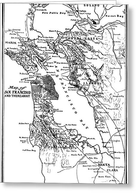 Map Of San Francisco And Thereabout Circa 1905 Greeting Card by California Views Mr Pat Hathaway Archives