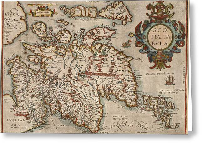 Map Of Scotland Greeting Card by Abraham Ortellius