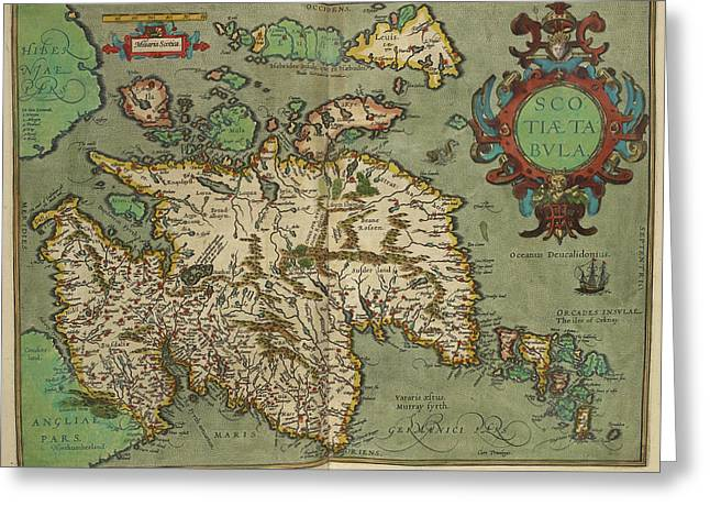 Map Of Scotland Drawn In 1601 Greeting Card by British Library